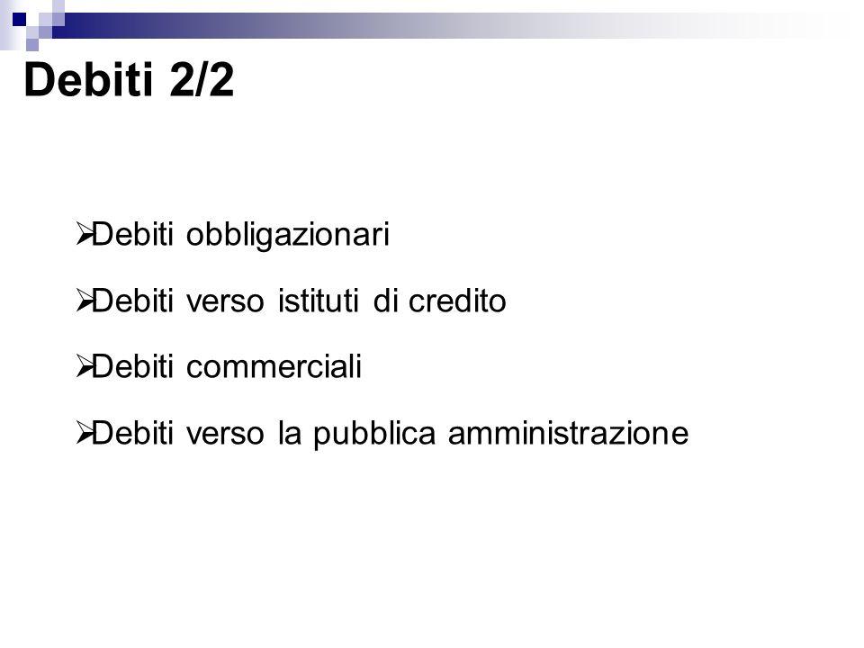 Debiti 2/2 Debiti obbligazionari Debiti verso istituti di credito Debiti commerciali Debiti verso la pubblica amministrazione