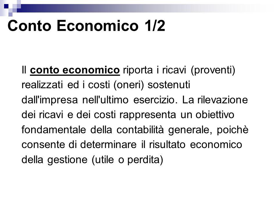 Conto Economico 1/2 Il conto economico riporta i ricavi (proventi) realizzati ed i costi (oneri) sostenuti dall impresa nell ultimo esercizio.