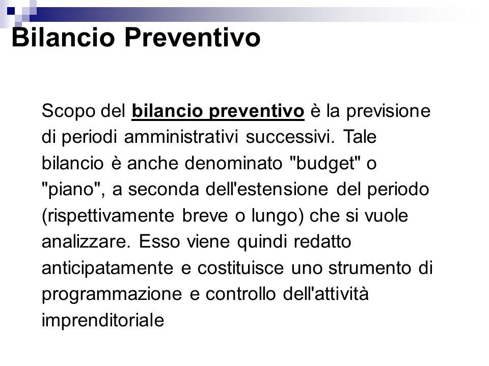 Bilancio Preventivo Scopo del bilancio preventivo è la previsione di periodi amministrativi successivi.