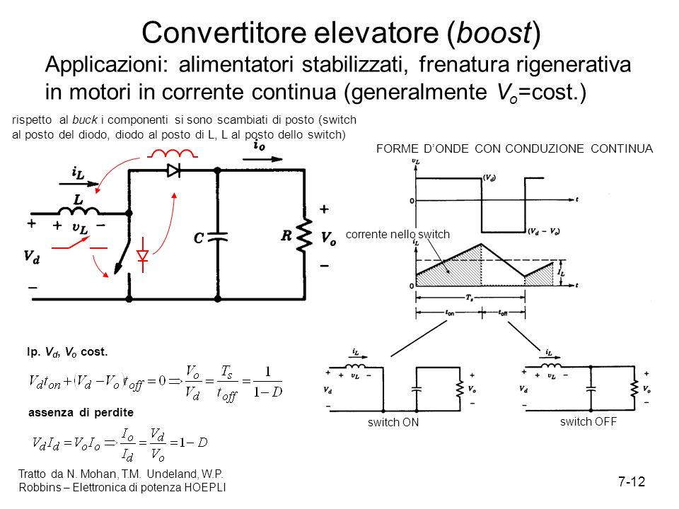 7-12 Tratto da N. Mohan, T.M. Undeland, W.P. Robbins – Elettronica di potenza HOEPLI Convertitore elevatore (boost) Applicazioni: alimentatori stabili