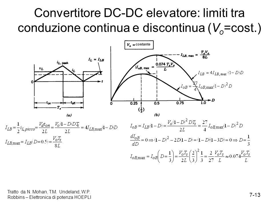 7-13 Tratto da N. Mohan, T.M. Undeland, W.P. Robbins – Elettronica di potenza HOEPLI Convertitore DC-DC elevatore: limiti tra conduzione continua e di