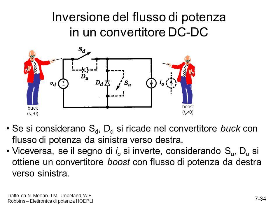 7-34 Tratto da N. Mohan, T.M. Undeland, W.P. Robbins – Elettronica di potenza HOEPLI Inversione del flusso di potenza in un convertitore DC-DC Se si c