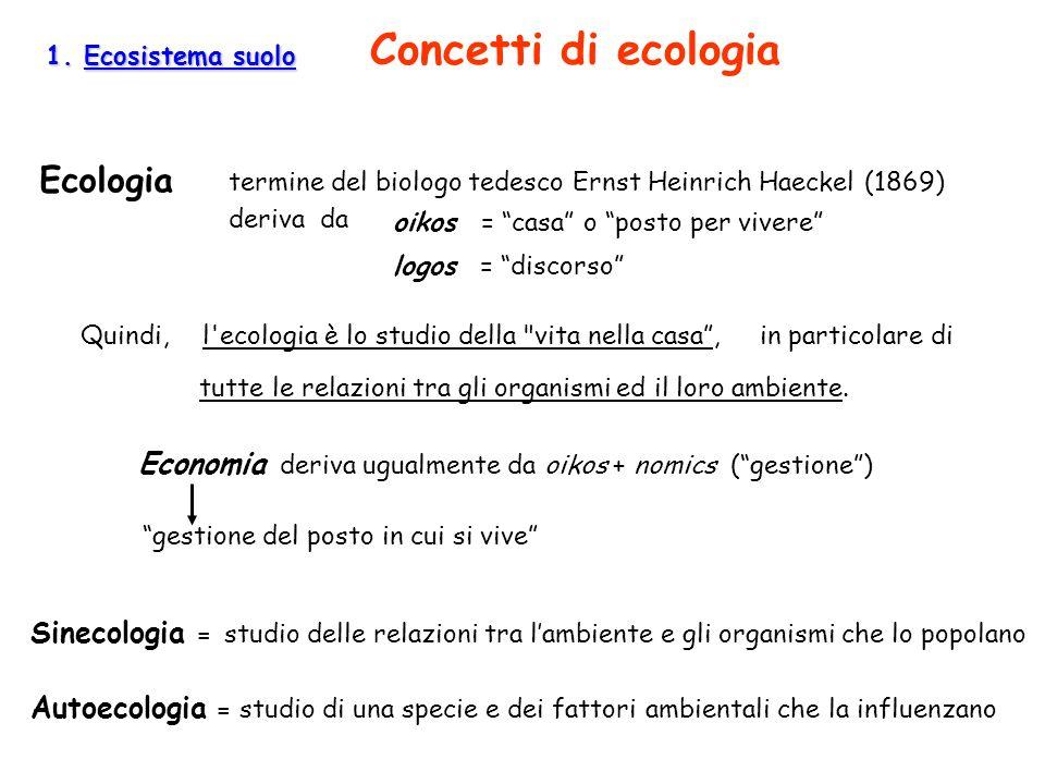 1. Ecosistema suolo 1. Ecosistema suolo Concetti di ecologia Economia deriva ugualmente da oikos + nomics (gestione) Ecologia termine del biologo tede