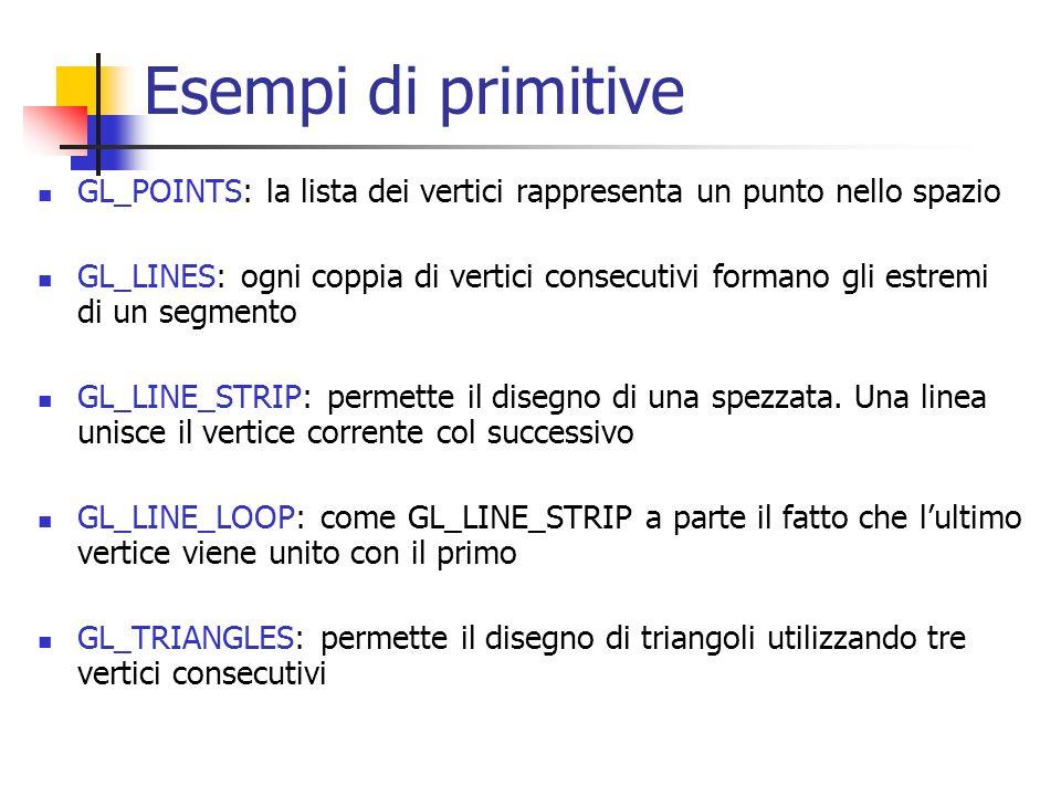 Esempi di primitive GL_POINTS: la lista dei vertici rappresenta un punto nello spazio GL_LINES: ogni coppia di vertici consecutivi formano gli estremi