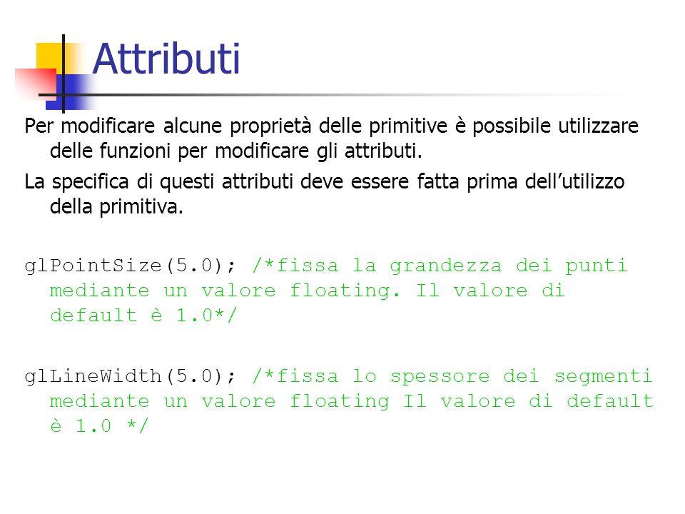 Attributi Per modificare alcune proprietà delle primitive è possibile utilizzare delle funzioni per modificare gli attributi. La specifica di questi a