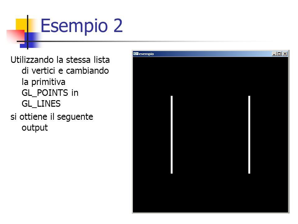 Esempio 2 Utilizzando la stessa lista di vertici e cambiando la primitiva GL_POINTS in GL_LINES si ottiene il seguente output