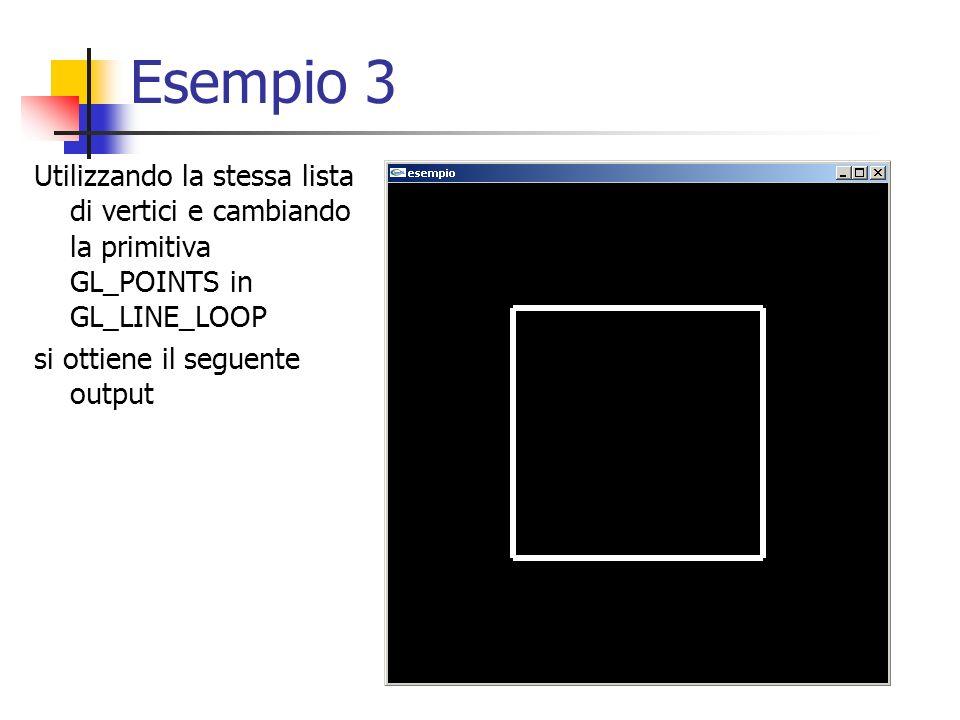 Esempio 3 Utilizzando la stessa lista di vertici e cambiando la primitiva GL_POINTS in GL_LINE_LOOP si ottiene il seguente output