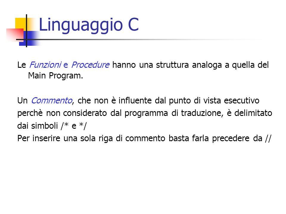 Linguaggio C Le Funzioni e Procedure hanno una struttura analoga a quella del Main Program. Un Commento, che non è influente dal punto di vista esecut
