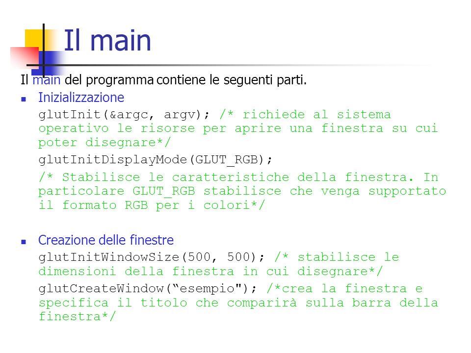 Il main Il main del programma contiene le seguenti parti. Inizializzazione glutInit(&argc, argv); /* richiede al sistema operativo le risorse per apri