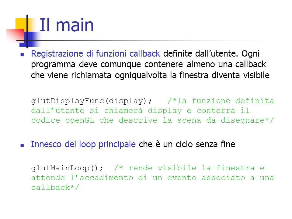 Callback di visualizzazione In questa funzione viene inserito tutto il codice openGL.