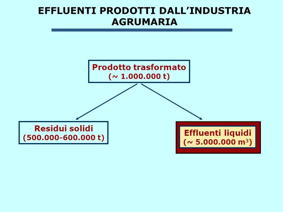 EFFLUENTI PRODOTTI DALLINDUSTRIA AGRUMARIA Prodotto trasformato (~ 1.000.000 t) Residui solidi (500.000-600.000 t) Effluenti liquidi (~ 5.000.000 m 3 )