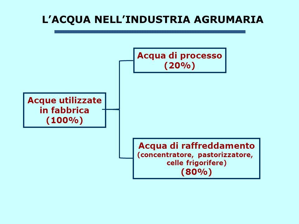 LACQUA NELLINDUSTRIA AGRUMARIA Acque utilizzate in fabbrica (100%) Acqua di processo (20%) Acqua di raffreddamento (concentratore, pastorizzatore, celle frigorifere) (80%)