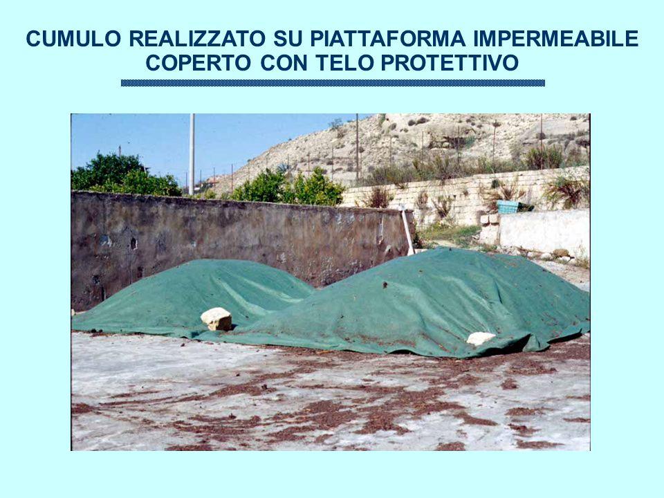 CUMULO REALIZZATO SU PIATTAFORMA IMPERMEABILE COPERTO CON TELO PROTETTIVO