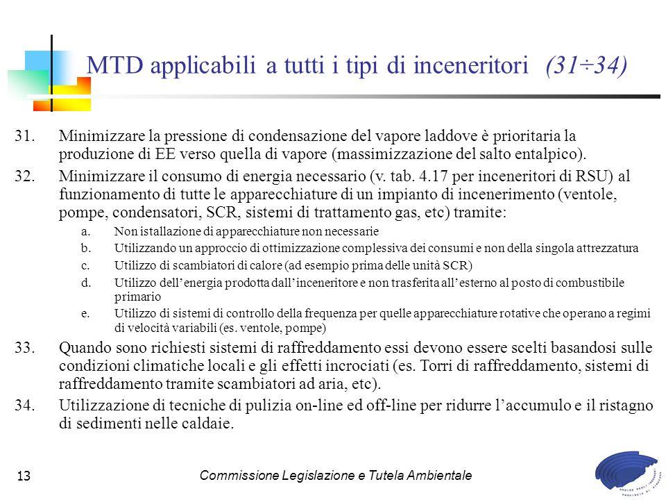 Commissione Legislazione e Tutela Ambientale13 MTD applicabili a tutti i tipi di inceneritori (31÷34) 31.Minimizzare la pressione di condensazione del vapore laddove è prioritaria la produzione di EE verso quella di vapore (massimizzazione del salto entalpico).