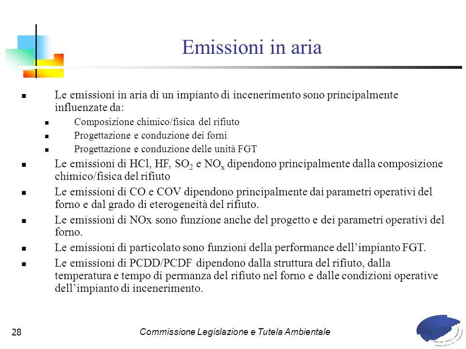 Commissione Legislazione e Tutela Ambientale28 Le emissioni in aria di un impianto di incenerimento sono principalmente influenzate da: Composizione chimico/fisica del rifiuto Progettazione e conduzione dei forni Progettazione e conduzione delle unità FGT Le emissioni di HCl, HF, SO 2 e NO x dipendono principalmente dalla composizione chimico/fisica del rifiuto Le emissioni di CO e COV dipendono principalmente dai parametri operativi del forno e dal grado di eterogeneità del rifiuto.
