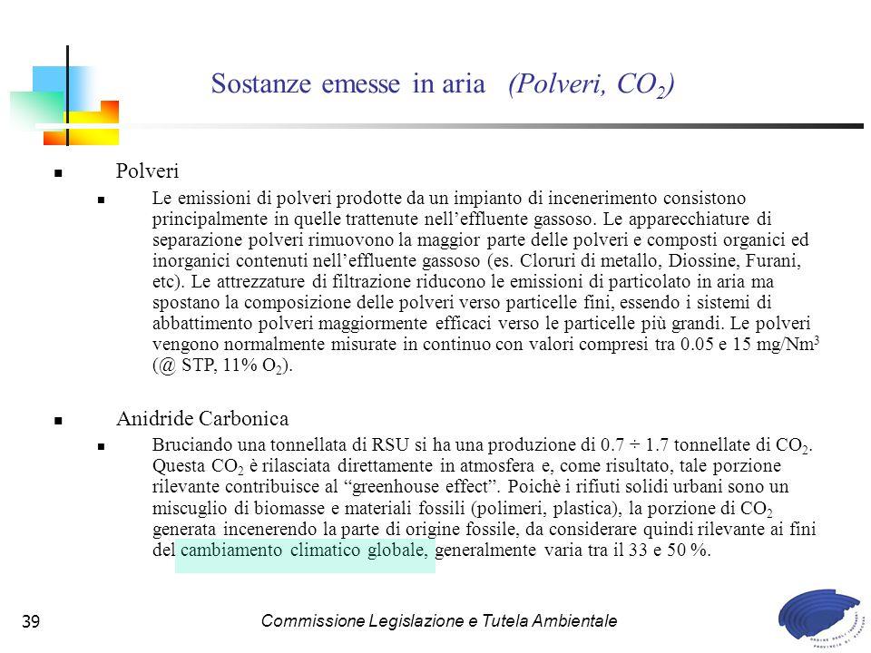 Commissione Legislazione e Tutela Ambientale39 Polveri Le emissioni di polveri prodotte da un impianto di incenerimento consistono principalmente in quelle trattenute nelleffluente gassoso.