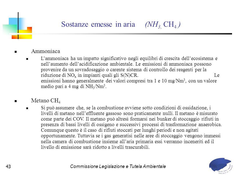 Commissione Legislazione e Tutela Ambientale43 Ammoniaca Lammoniaca ha un impatto significativo negli equilibri di crescita dellecosistema e nellaumento dellacidificazione ambientale.