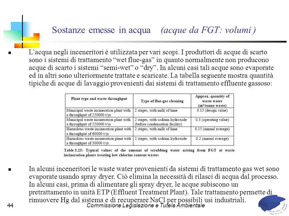 Commissione Legislazione e Tutela Ambientale44 Lacqua negli inceneritori è utilizzata per vari scopi.