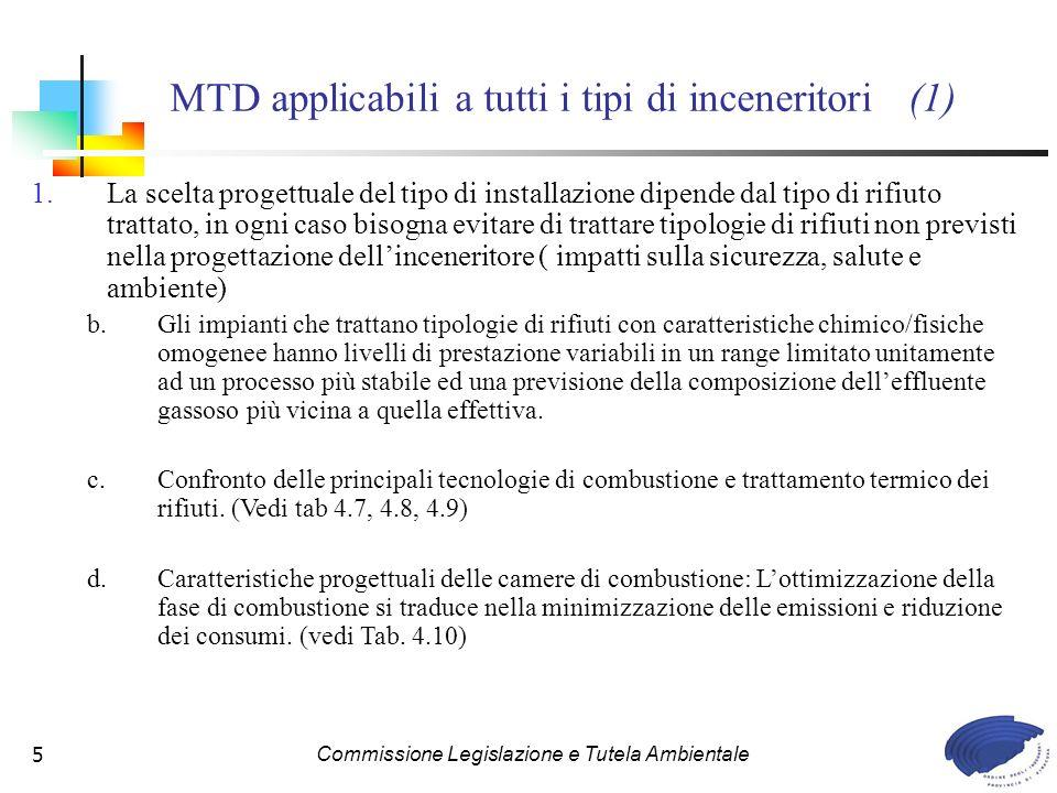 Commissione Legislazione e Tutela Ambientale76 Tab. 4.6