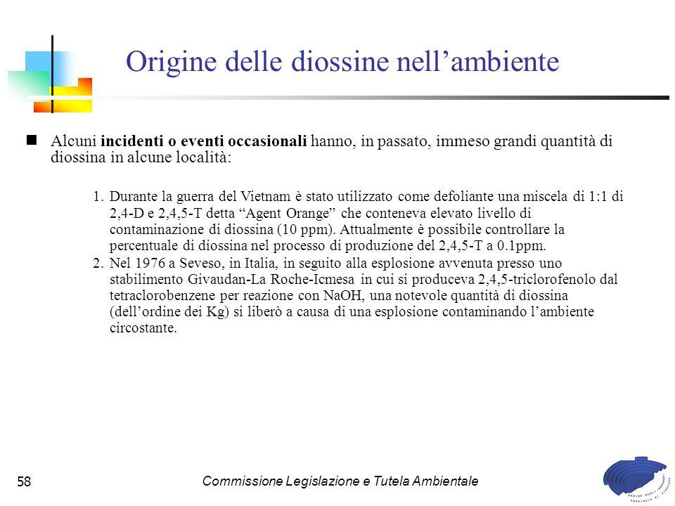 Commissione Legislazione e Tutela Ambientale58 Vari processi causano la produzione di diossine.