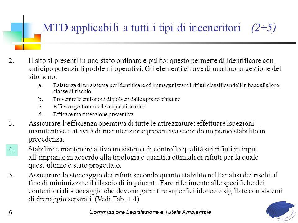 Commissione Legislazione e Tutela Ambientale27 MTD specifiche incenerimento Rifiuti Ospedalieri (78÷82) 78.Utilizzo di sistemi di trasporto e carico impianti non manuali.