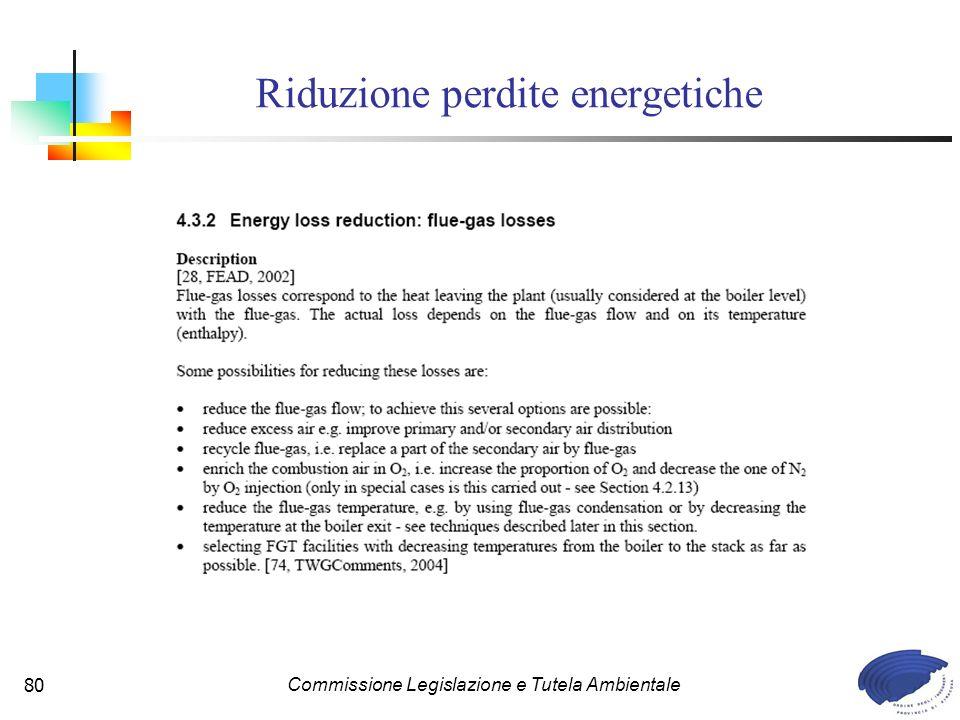 Commissione Legislazione e Tutela Ambientale80 Riduzione perdite energetiche