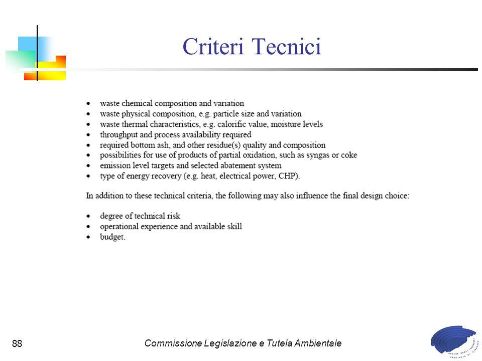 Commissione Legislazione e Tutela Ambientale88 Criteri Tecnici