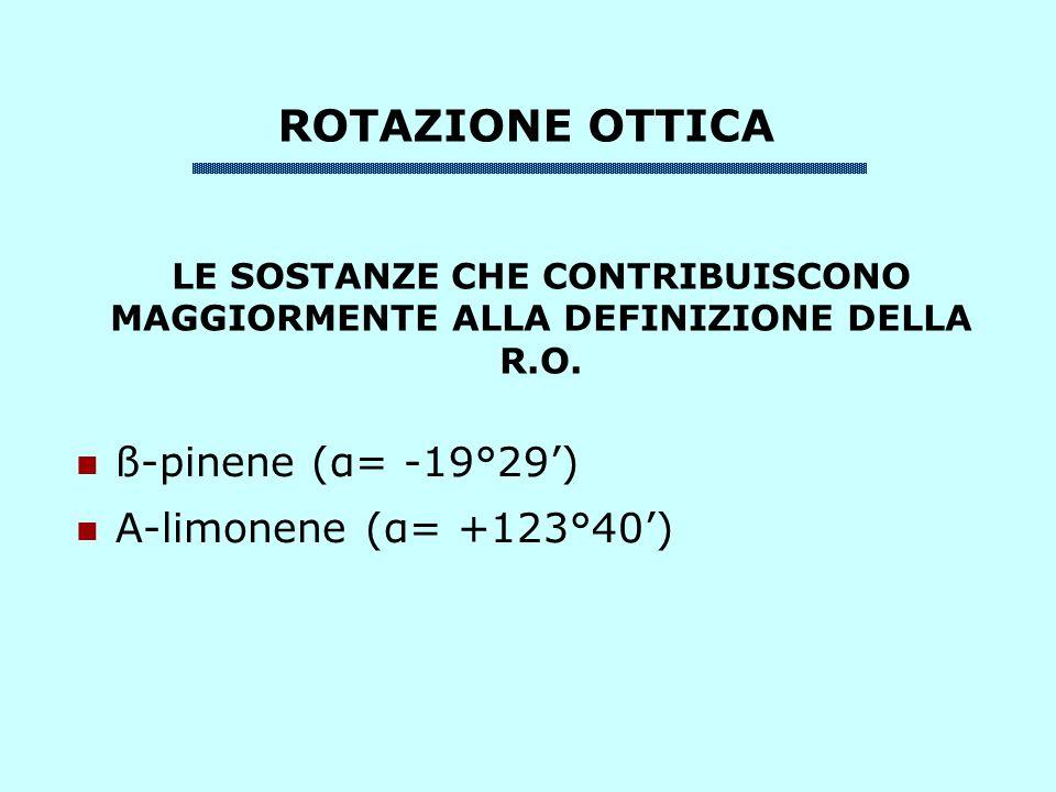 ROTAZIONE OTTICA ß-pinene (α= -19°29) Α-limonene (α= +123°40) LE SOSTANZE CHE CONTRIBUISCONO MAGGIORMENTE ALLA DEFINIZIONE DELLA R.O.