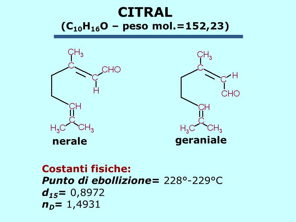 Costanti fisiche: Punto di ebollizione= 228°-229°C d 15 = 0,8972 n D = 1,4931 nerale geraniale CITRAL (C 10 H 16 O – peso mol.=152,23)