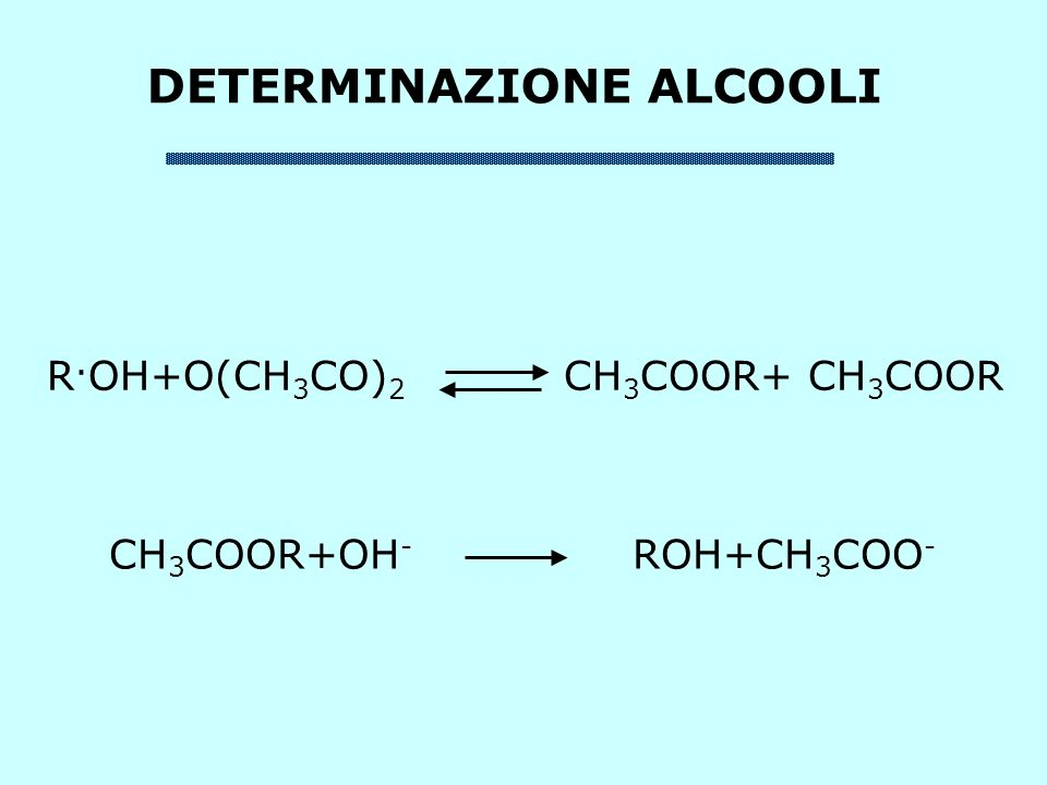 DETERMINAZIONE ALCOOLI R. OH+O(CH 3 CO) 2 CH 3 COOR+ CH 3 COOR CH 3 COOR+OH - ROH+CH 3 COO -