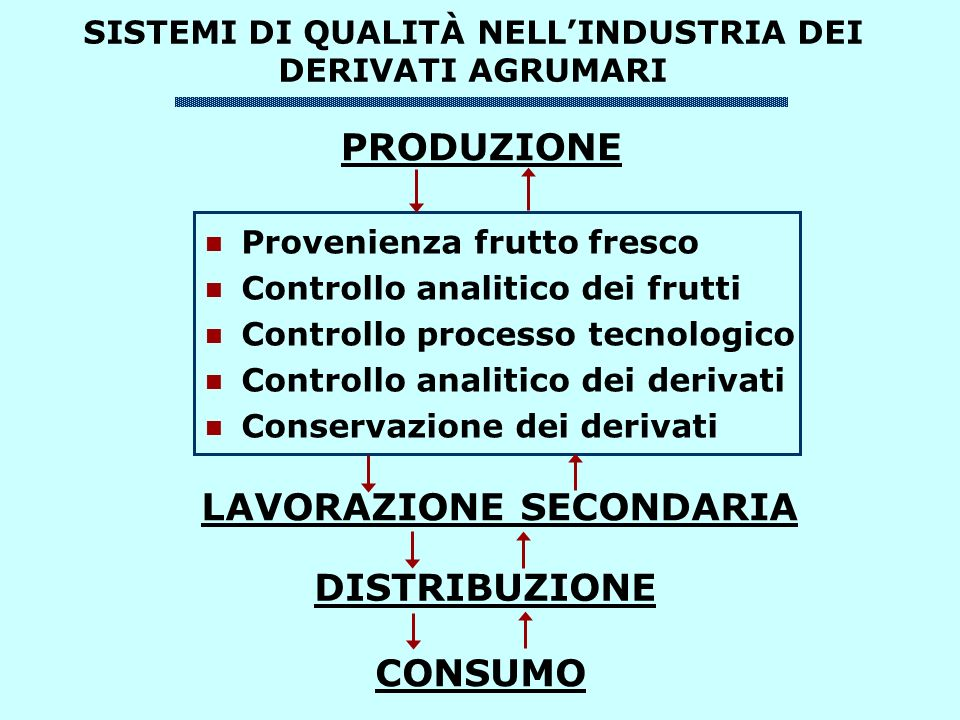 SISTEMI DI QUALITÀ NELLINDUSTRIA DEI DERIVATI AGRUMARI PRODUZIONE Provenienza frutto fresco Controllo analitico dei frutti Controllo processo tecnolog