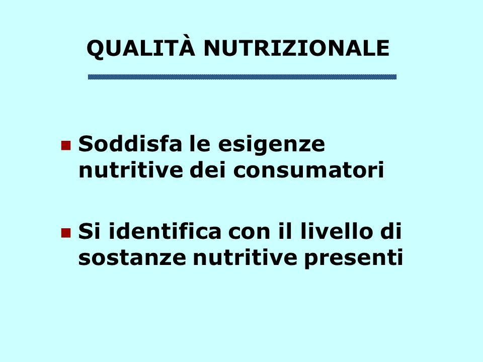 QUALITÀ NUTRIZIONALE Soddisfa le esigenze nutritive dei consumatori Si identifica con il livello di sostanze nutritive presenti
