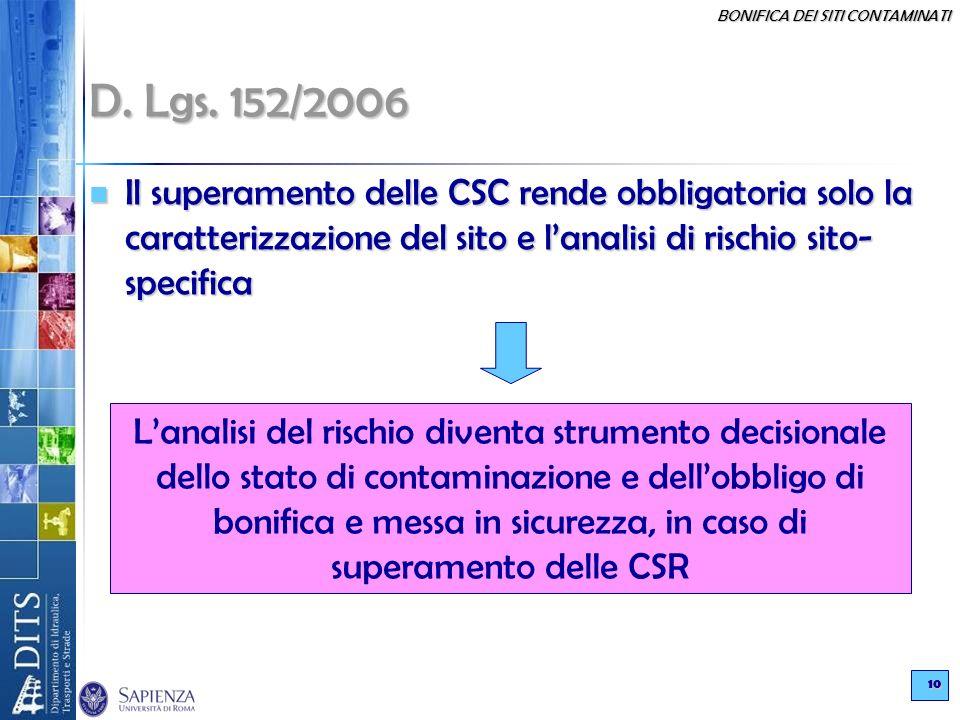 BONIFICA DEI SITI CONTAMINATI 10 D. Lgs. 152/2006 Il superamento delle CSC rende obbligatoria solo la caratterizzazione del sito e lanalisi di rischio