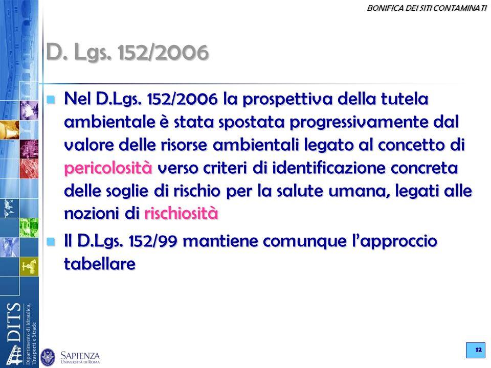 BONIFICA DEI SITI CONTAMINATI 12 D. Lgs. 152/2006 Nel D.Lgs. 152/2006 la prospettiva della tutela ambientale è stata spostata progressivamente dal val