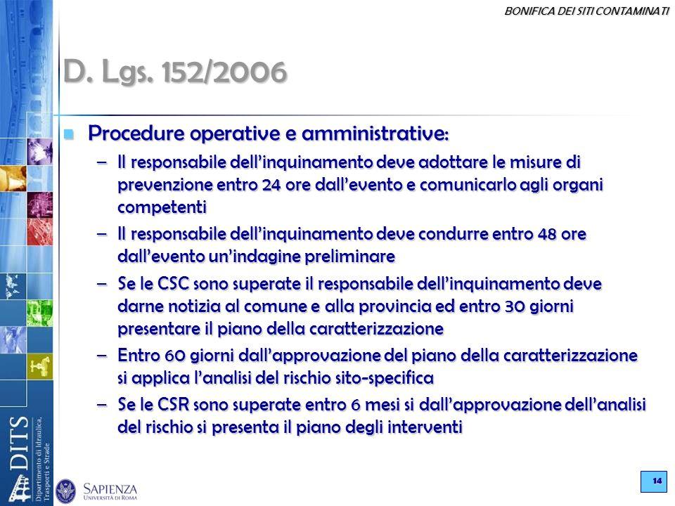 BONIFICA DEI SITI CONTAMINATI 14 D. Lgs. 152/2006 Procedure operative e amministrative: Procedure operative e amministrative: –Il responsabile dellinq