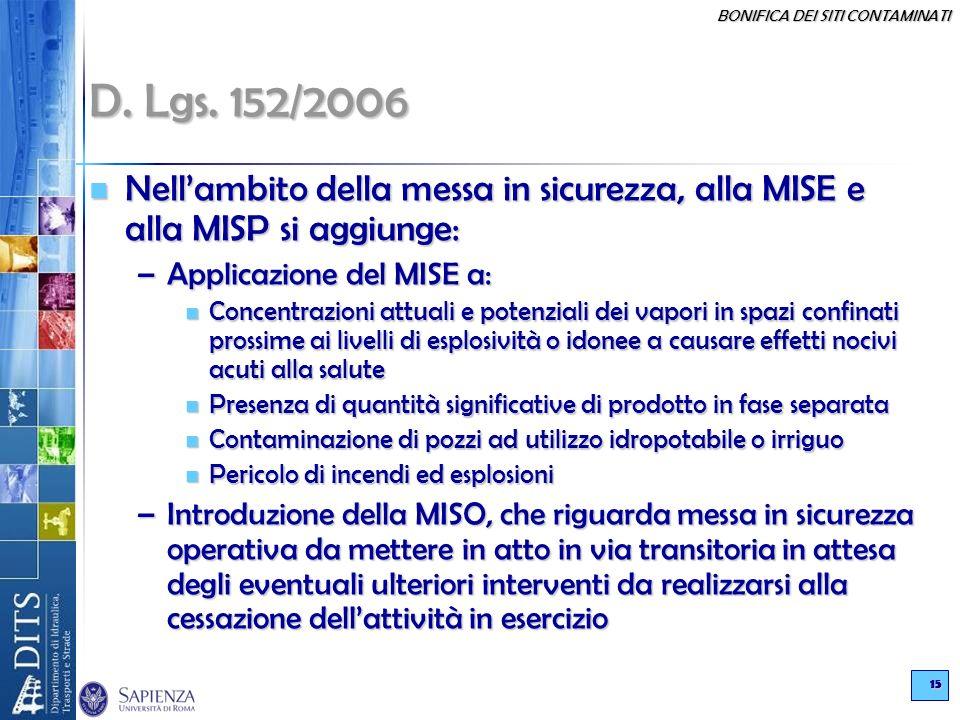 BONIFICA DEI SITI CONTAMINATI 15 D. Lgs. 152/2006 Nellambito della messa in sicurezza, alla MISE e alla MISP si aggiunge: Nellambito della messa in si