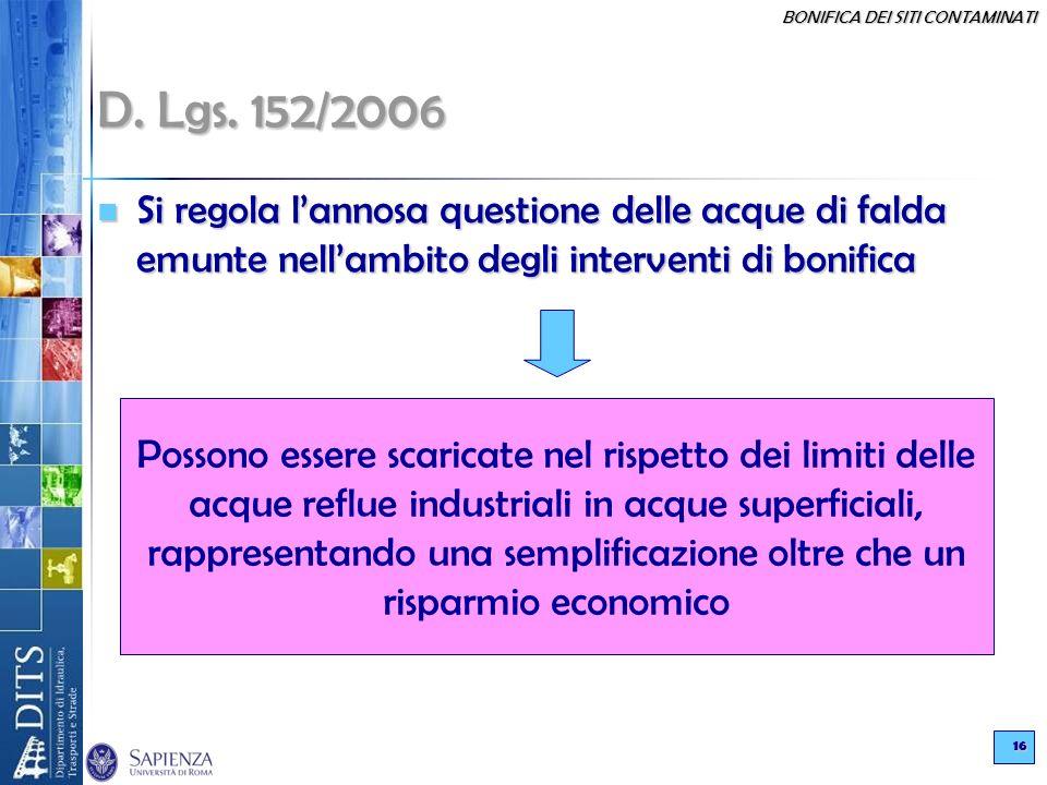 BONIFICA DEI SITI CONTAMINATI 16 D. Lgs. 152/2006 Si regola lannosa questione delle acque di falda emunte nellambito degli interventi di bonifica Si r