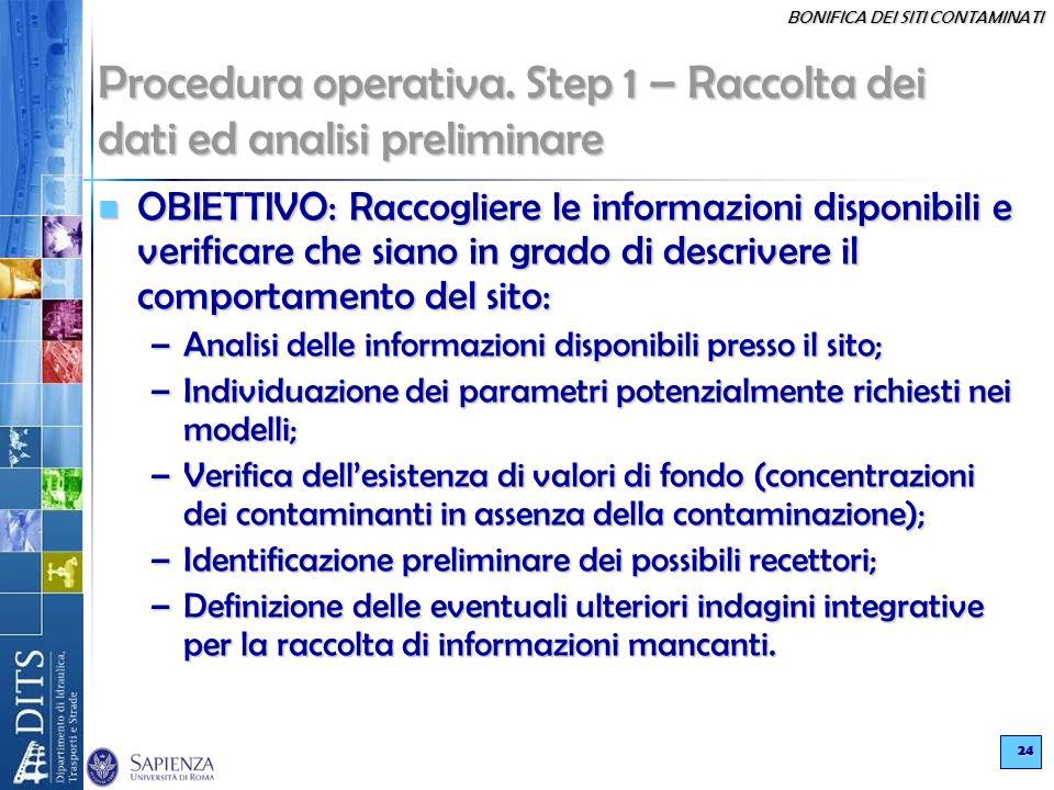 BONIFICA DEI SITI CONTAMINATI 24 Procedura operativa. Step 1 – Raccolta dei dati ed analisi preliminare OBIETTIVO: Raccogliere le informazioni disponi
