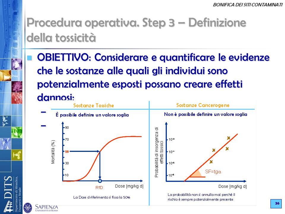 BONIFICA DEI SITI CONTAMINATI 26 Procedura operativa. Step 3 – Definizione della tossicità OBIETTIVO: Considerare e quantificare le evidenze che le so