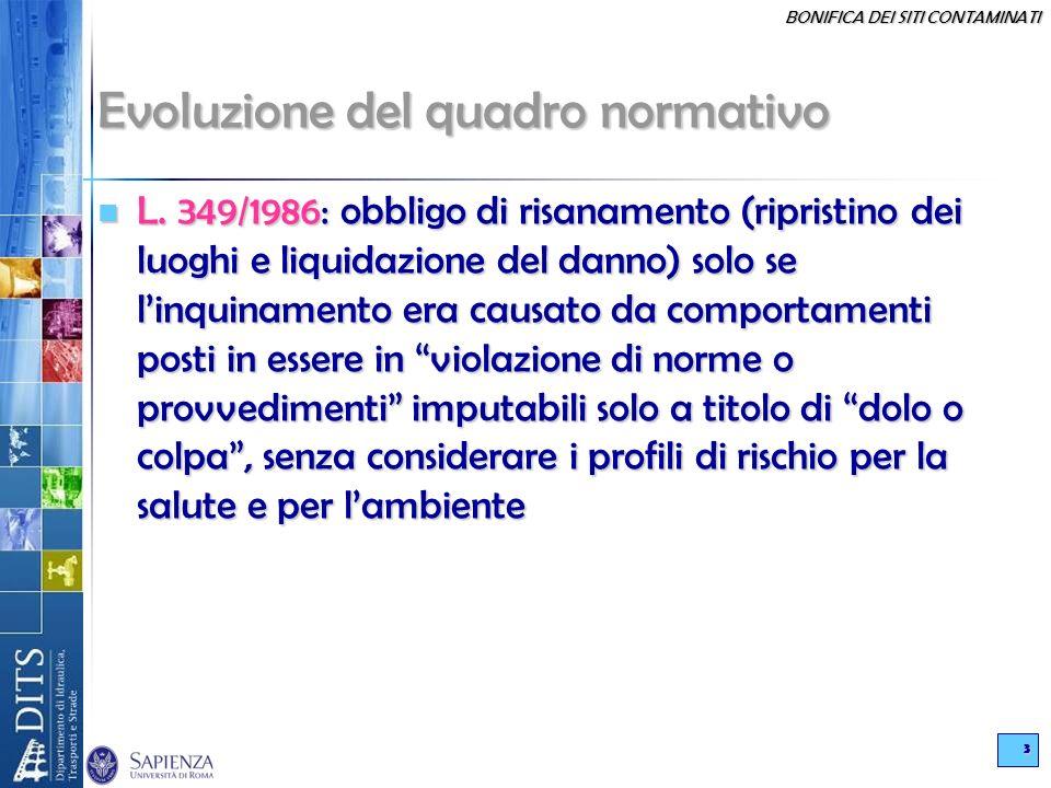 BONIFICA DEI SITI CONTAMINATI 3 Evoluzione del quadro normativo L. 349/1986: obbligo di risanamento (ripristino dei luoghi e liquidazione del danno) s