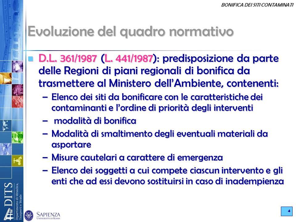 BONIFICA DEI SITI CONTAMINATI 4 Evoluzione del quadro normativo D.L. 361/1987 (L. 441/1987): predisposizione da parte delle Regioni di piani regionali