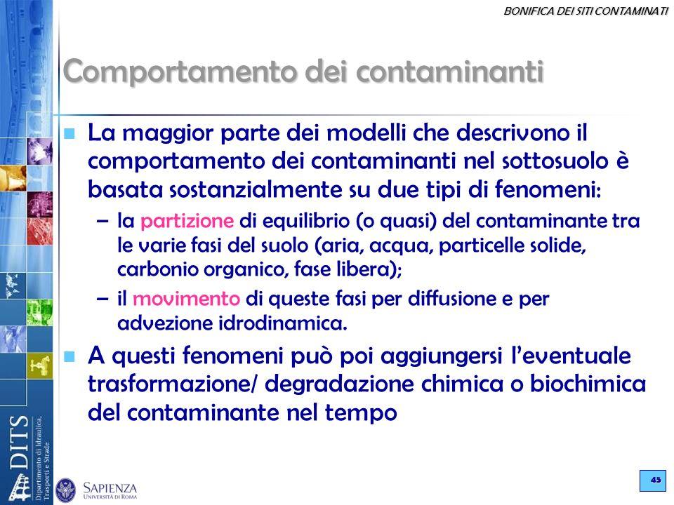 BONIFICA DEI SITI CONTAMINATI 45 Comportamento dei contaminanti La maggior parte dei modelli che descrivono il comportamento dei contaminanti nel sott