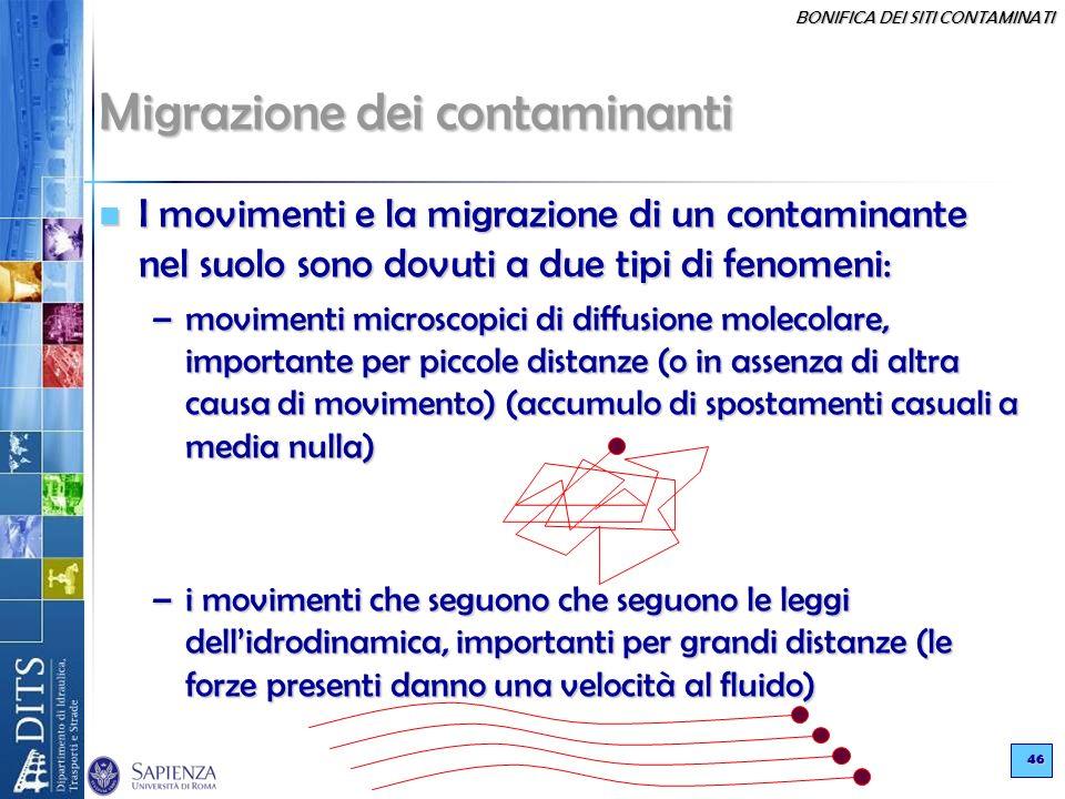BONIFICA DEI SITI CONTAMINATI 46 Migrazione dei contaminanti I movimenti e la migrazione di un contaminante nel suolo sono dovuti a due tipi di fenome