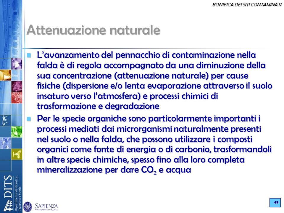 BONIFICA DEI SITI CONTAMINATI 49 Attenuazione naturale Lavanzamento del pennacchio di contaminazione nella falda è di regola accompagnato da una dimin