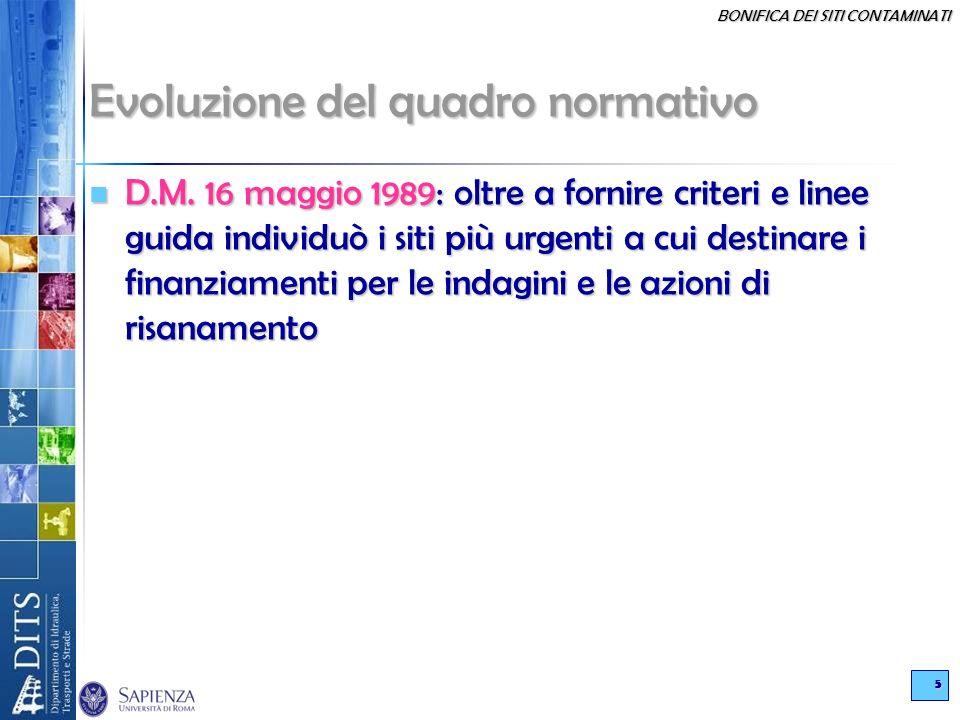 BONIFICA DEI SITI CONTAMINATI 5 Evoluzione del quadro normativo D.M. 16 maggio 1989: oltre a fornire criteri e linee guida individuò i siti più urgent