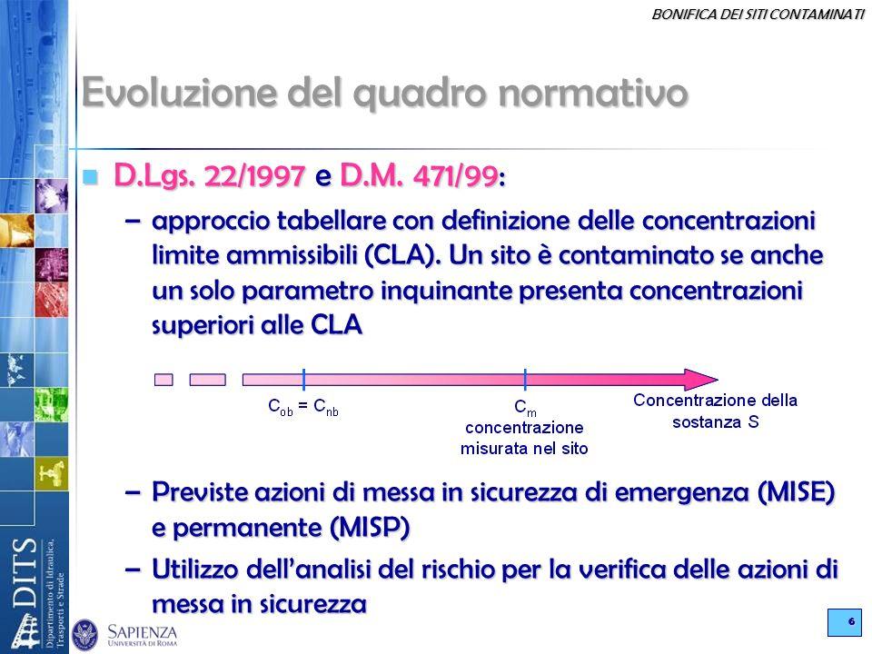 BONIFICA DEI SITI CONTAMINATI 6 Evoluzione del quadro normativo D.Lgs. 22/1997 e D.M. 471/99: D.Lgs. 22/1997 e D.M. 471/99: –approccio tabellare con d