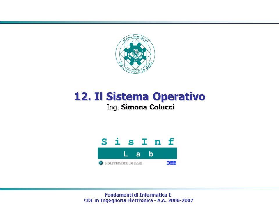 Fondamenti di Informatica I CDL in Ingegneria Elettronica - A.A. 2006-2007 CDL in Ingegneria Elettronica - A.A. 2006-2007 12. Il Sistema Operativo Ing