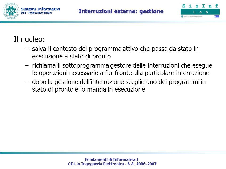 Sistemi Informativi DEE - Politecnico di Bari Fondamenti di Informatica I CDL in Ingegneria Elettronica - A.A. 2006-2007 Interruzioni esterne: gestion