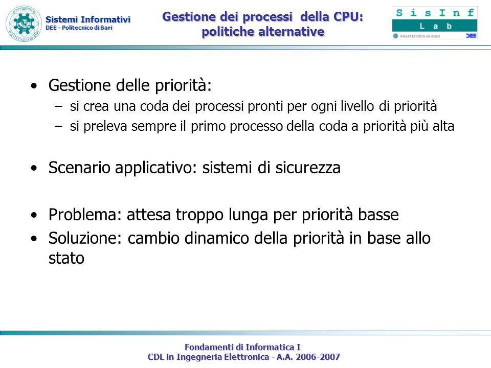 Sistemi Informativi DEE - Politecnico di Bari Fondamenti di Informatica I CDL in Ingegneria Elettronica - A.A. 2006-2007 Gestione delle priorità: –si