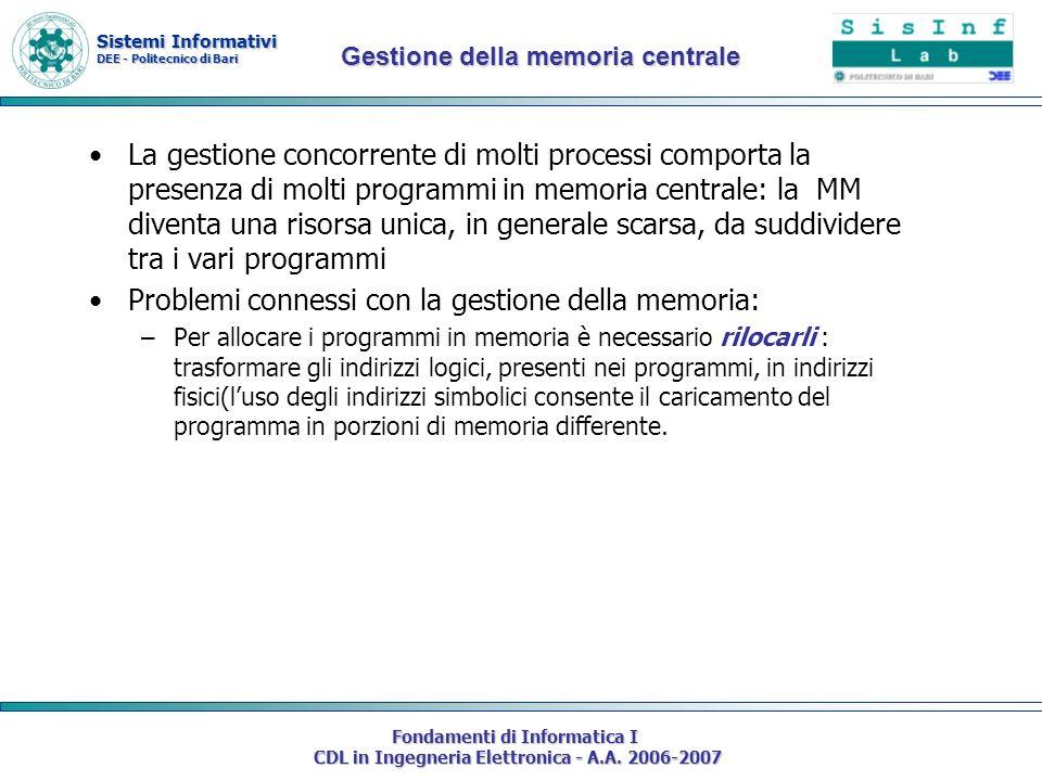 Sistemi Informativi DEE - Politecnico di Bari Fondamenti di Informatica I CDL in Ingegneria Elettronica - A.A. 2006-2007 La gestione concorrente di mo